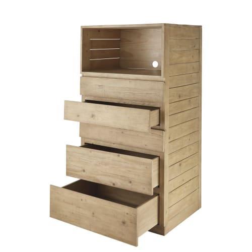 Küchenschrank mit 5 Schubladen aus Fichtenholz