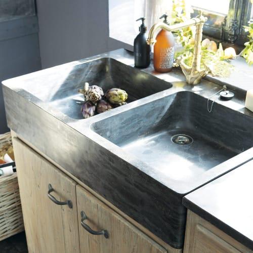 Küchenunterschrank aus recyceltem Kiefernholz mit Spüle