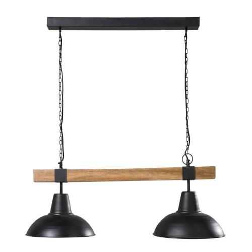 Lampada A Sospensione Doppia In Metallo Nero E Legno Di Mango James Maisons Du Monde