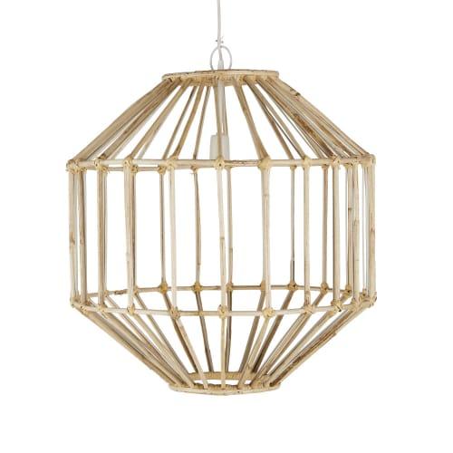 Lampada A Sospensione In Bambu Di Colore Naturale E Metallo Bianco Ilasi Maisons Du Monde