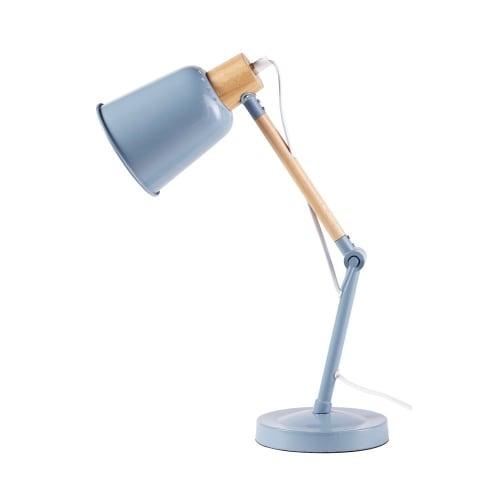 Lampada Da Scrivania Legno.Lampada Da Tavolo In Metallo Blu E Legno Di Hevea Pixie Maisons