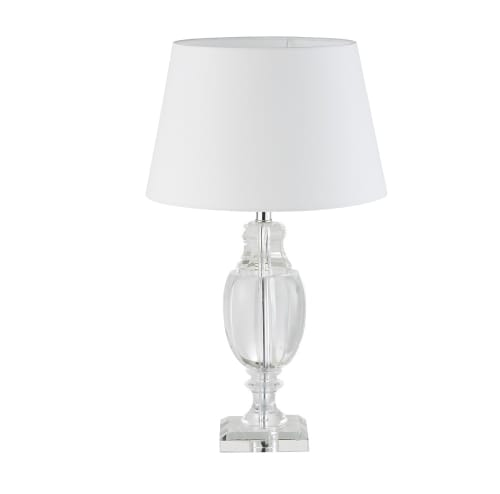 Lampada In Vetro Con Abat Jour Bianco Brandford Maisons Du Monde
