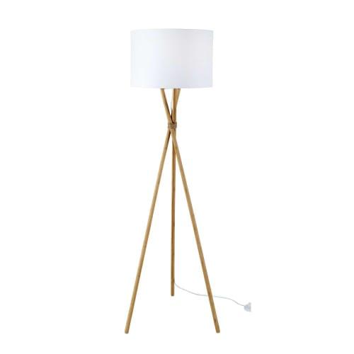Lampadaire trépied en bambou abat jour blanc H154 | Maisons du Monde