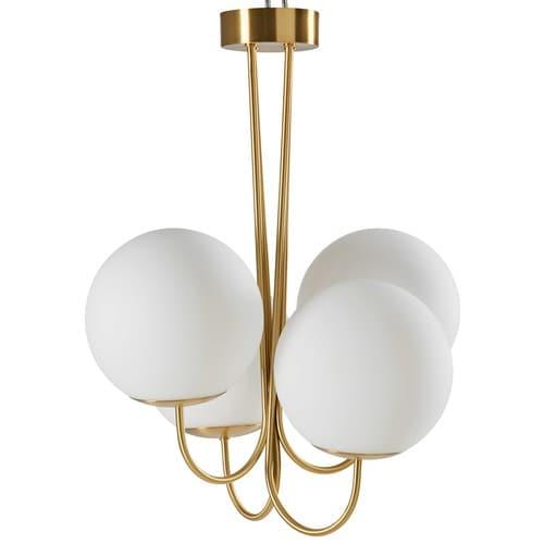 Lampadario a 4 sfere in vetro bianco e metallo dorato for Lampadari maison du monde