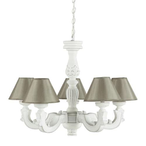 Lámpara con envejecido beige blanca efecto pantallas y YH2WIED9