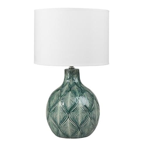 blanco Lámpara de cerámica de pantalla con algodón verde doBrxeC