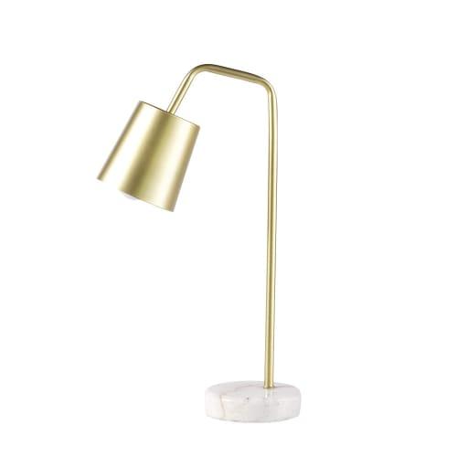 Lámpara De Escritorio De Metal Dorado Y Mármol Blanco Zen Market Maisons Du Monde