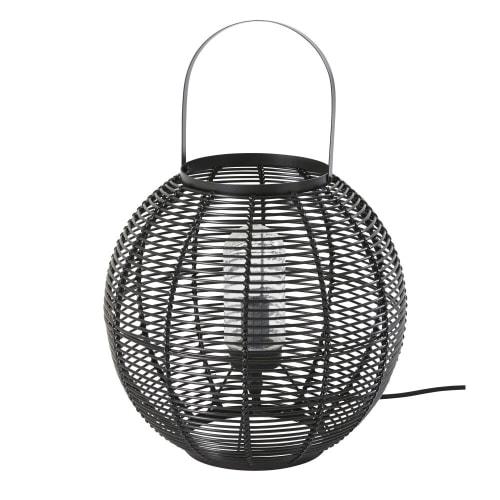 a imitación fibra negra Lámpara vegetal de de exterior trenzada 80XnwPkNO