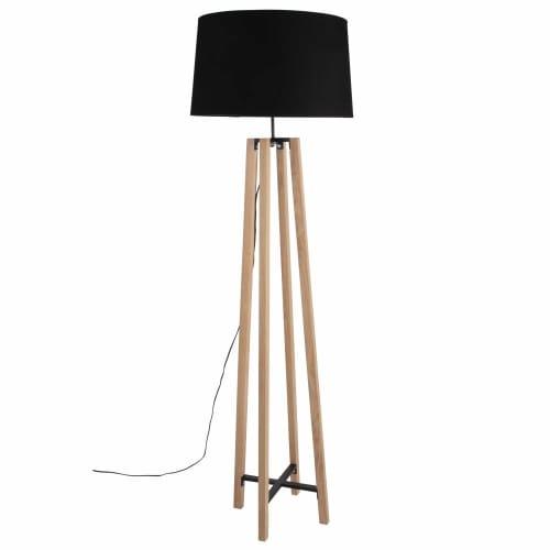 Lámpara de pie de roble con pantalla negra Alt.146 Sheffield