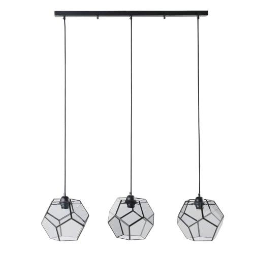 Lámpara de techo con 3 focos de metal negro y cristal ahumado | Maisons du Monde