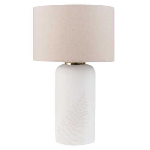Lampe à poser en céramique blanche et abat jour écru | Maisons du Monde