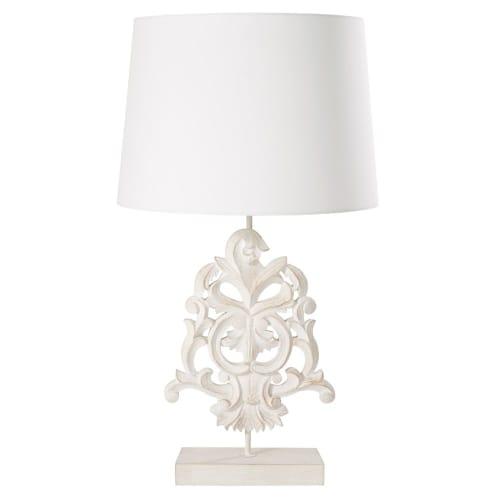 Lampe aus geweißtem Mangoholz mit beigem Lampenschirm, gebürstet