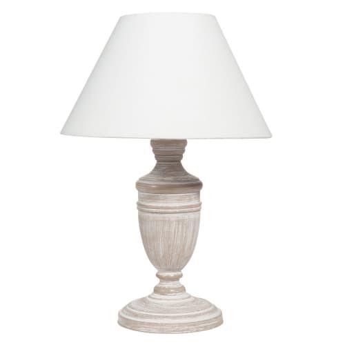 Lampe aus geweißtem Paulownienholz mit weißem Lampenschirm  Maisons du  Monde