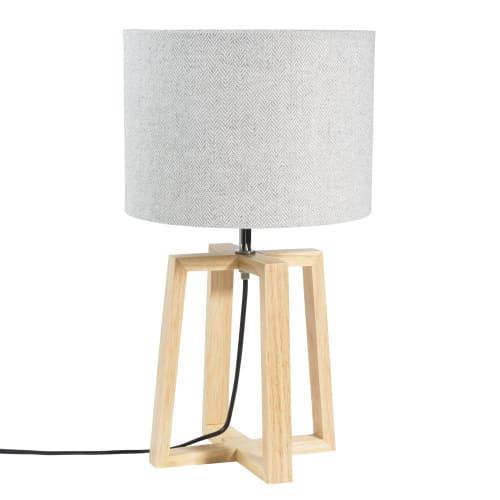 Lampe aus Kautschukholz mit graue Lampenschirm  Maisons du Monde