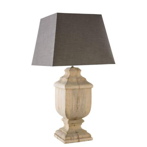 Lampe aus Mangoholz mit anthrazitgrauen Lampenschirm | Maisons du Monde