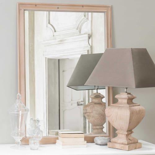 Lampe aus Mangoholz mit Lampenschirm aus Baumwolle, H 80 cm, taupe | Maisons du Monde