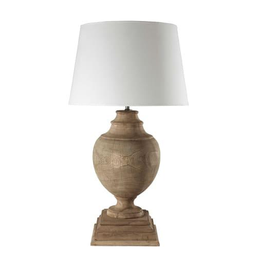 Lampe aus Mangoholz mit Lampenschirm aus Baumwolle, H 90 cm, weiß