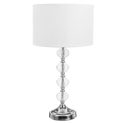 Lampe avec pied en verre et abat-jour en tissu blanc H 8 cm  Maisons du  Monde