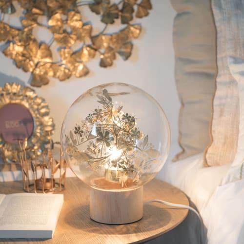 Lampe boule en verre imprimé feuilles et pin