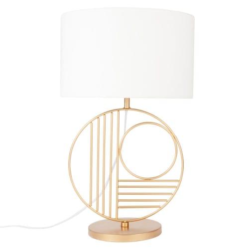 Lampe cercles en métal doré et abat jour gris