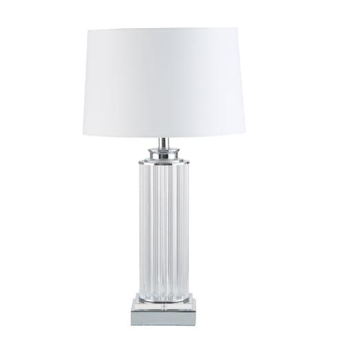 Lampe colonne abat jour blanc | Maisons du Monde