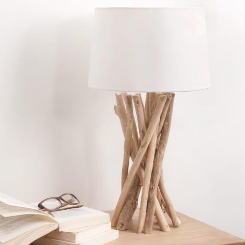 Lampe en bois flotté et abat-jour en coton H 8 cm  Maisons du Monde