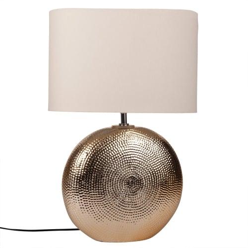 Lampe en céramique martelée dorée et abat-jour blanc  Maisons du Monde