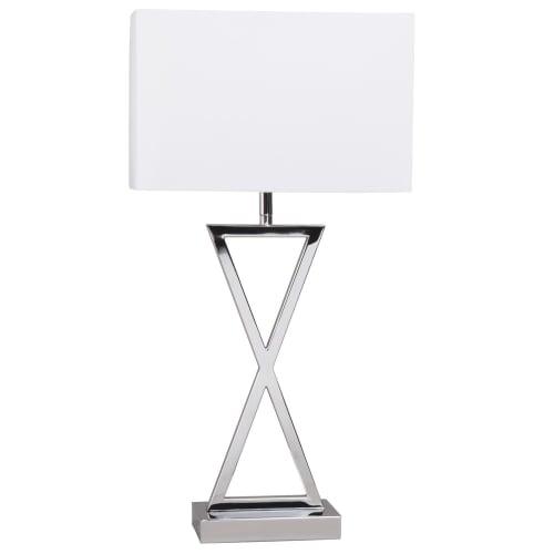 Lampe en métal chromé et abat jour blanc | Maisons du Monde