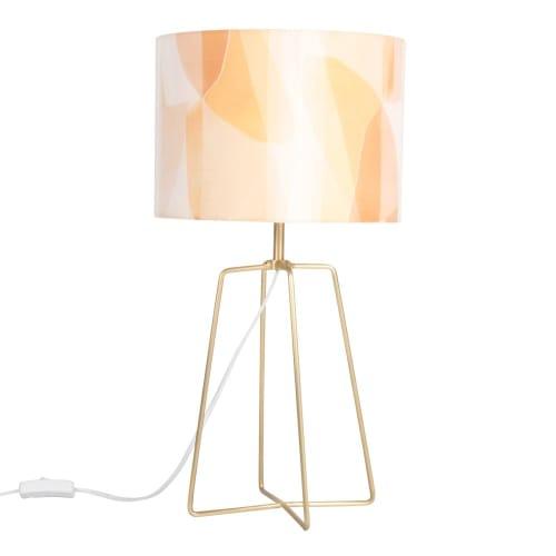 Lampe en métal doré et abat jour marron | Maisons du Monde