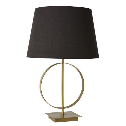 Lampe en métal doré et abat jour noir