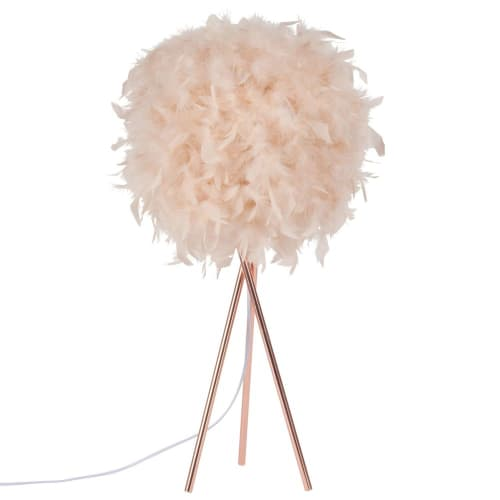 Lampe de Table Veilleuse au Abat-Jour de Plume Blanche Table du Chevet Décor