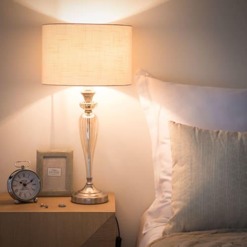 Lampe en verre abat jour écru | Maisons du Monde