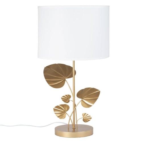 Lampe feuillage en métal doré et abat jour blanc | Maisons du Monde