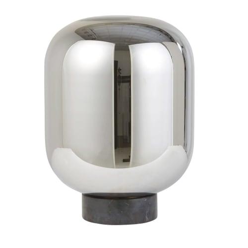 Lampe globe en verre chromé et marbre noir | Maisons du Monde