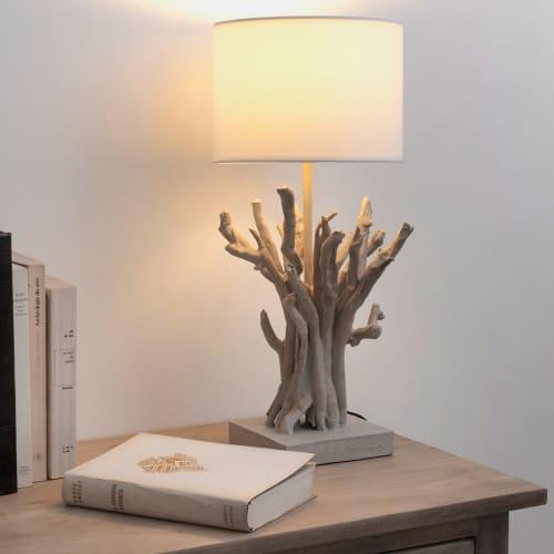 Lampe imitation bois flotté et abat-jour blanc