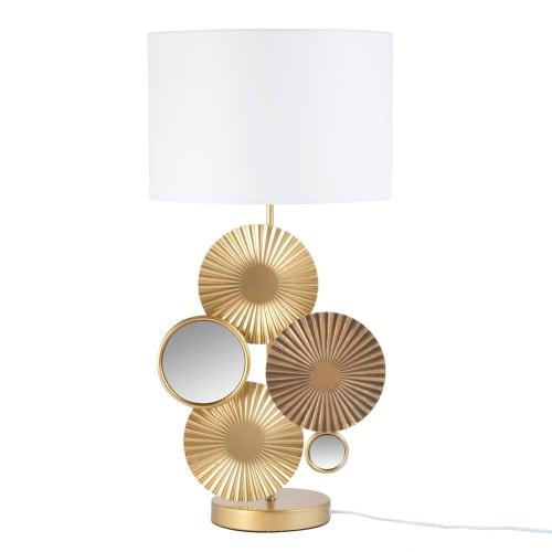Lampe miroirs en métal doré et abat jour crème | Maisons du Monde