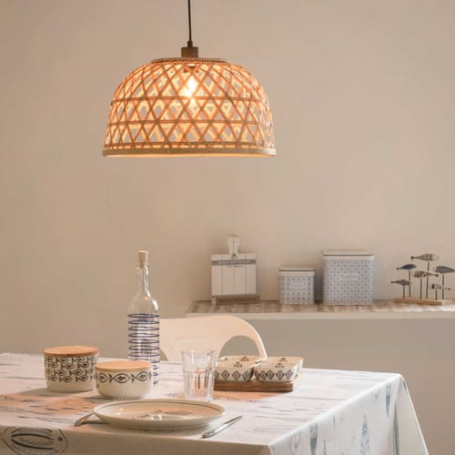 Lampenschirm für Hängelampe aus geflochtenem Rattan D43