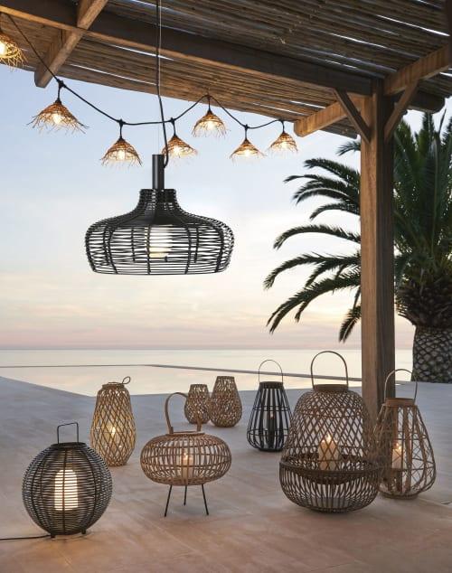 Lanterna di bambù intrecciato Marrone con portacandela per esterno e interno