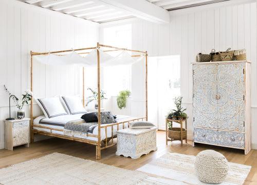 Letto a baldacchino 160 x 200 in bambù e tessuto bianco