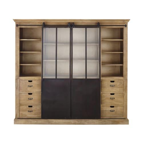 Libreria a 2 ante in legno massello di mango e metallo | Maisons du Monde