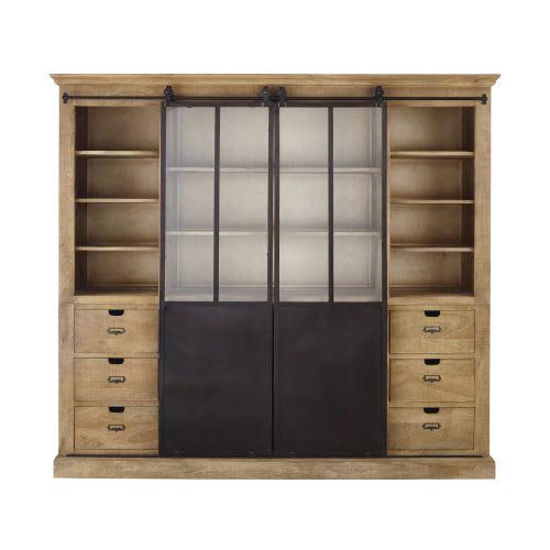Libreria a 2 ante in legno massello di mango e metallo