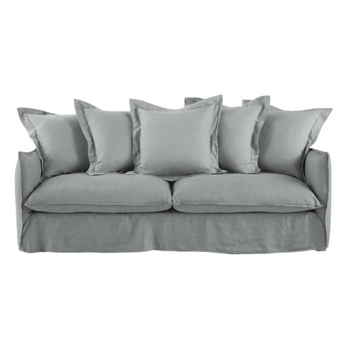 Stupendous Light Grey 3 4 Seater Washed Linen Sofa Bad Interior Design Ideas Skatsoteloinfo