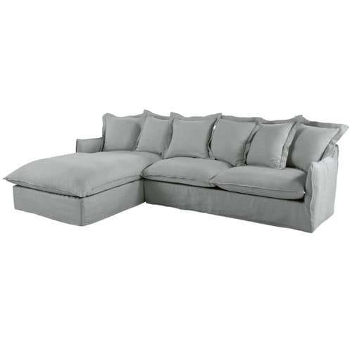100% authentic 523a1 36c1c Light Grey 6-Seater Washed Linen Left-Hand Corner Sofa Bed