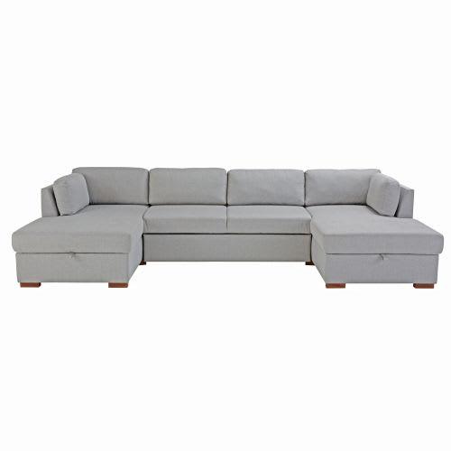 Light Grey 7 Seater U Shaped Sofa Bed