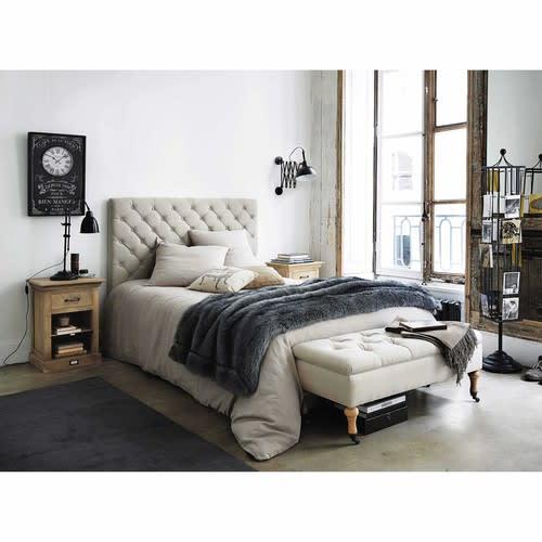 Bed 140 Cm.Linen Button Headboard W 140cm