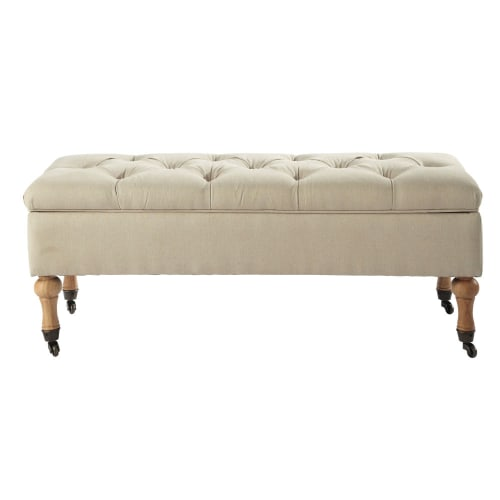 Pleasing Linen Coloured Cotton Storage Bench On Wheels Machost Co Dining Chair Design Ideas Machostcouk