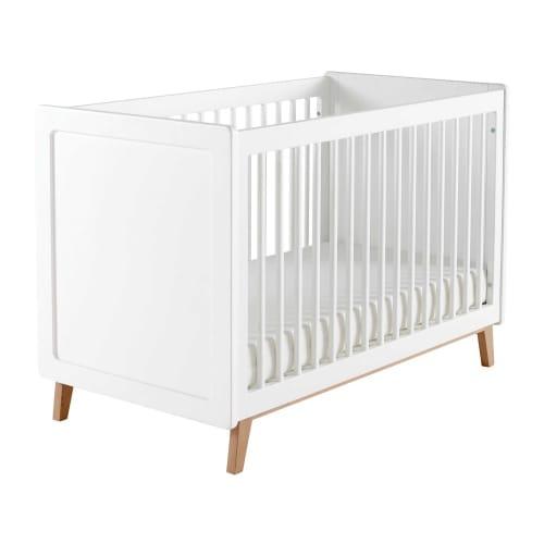 Lit bébé à barreaux blanc L126