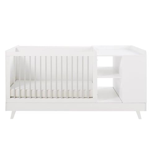 Lit Bébé Combiné Blanc Et Gris L190 Maisons Du Monde