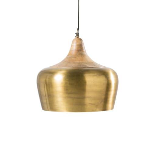 Mango Wood and Gold-Coloured Metal Pendant  Maisons du Monde