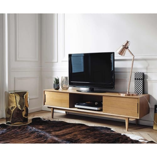 Massief Eiken Houten Tv Kast.Massief Eikenhouten Vintage Tv Meubel Portobello Maisons Du Monde